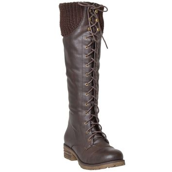 Women's Lace Up Knee High Combat Boots