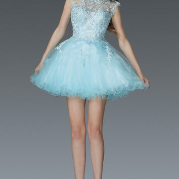 G2047 Lace Cap Sleeve Homecoming Cocktail Dress