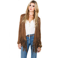 Brown Fringed Long Sleeve Blouse