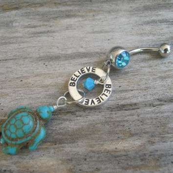 Sea Turtle Belly Ring, Believe, Turquoise Howlite Turtle Belly Button Ring, Nature Navel Ring, Piercing, Turtle Body Jewelry, Tortoise