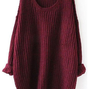 Fall Fashion Red Batwing Oversized Long Sleeve Loose Knit Sweater Day First