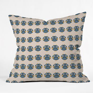 Vy La Geo Owl Print Blue Throw Pillow