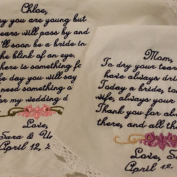 Lacy Mom and Flower girl Keepsake Personalized Wedding Handkerchief. Gift for Mother and Flower girl FREE Sparkling Gift Envelope.