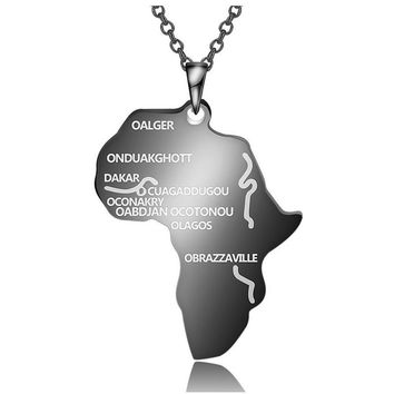 Punk Africa Necklace Gift Black/Silver/Gold Color Pendant & Chain Hiphop African Map Men/Women Trendy Jewelry