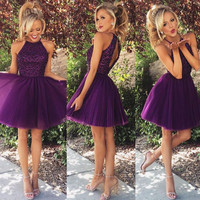 fashion purple short prom dress 2016 new o neck beaded a line women coctel dresses for formal party robe de soiree
