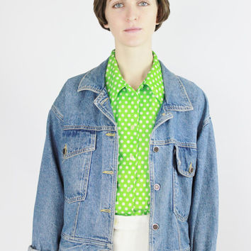 vtg 70s green polka dot button down blouse basic collared shirt allover pattern bright lime green classic retro top small medium