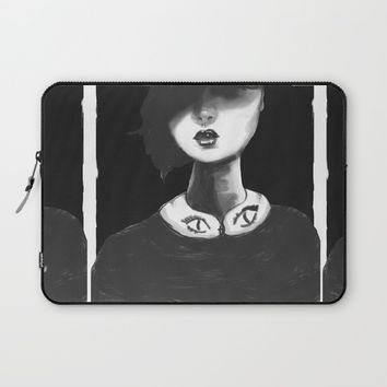 Contemporary Black and White Collar  Laptop Sleeve by Ben Geiger