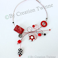red and black necklace, unique contemporary design,wedding favour,funky necklace, bridesmaids gift ,mothers days gifts, wedding jewelry