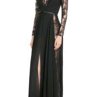 Elie Saab - Silk Georgette Floor-Length Gown with Lace