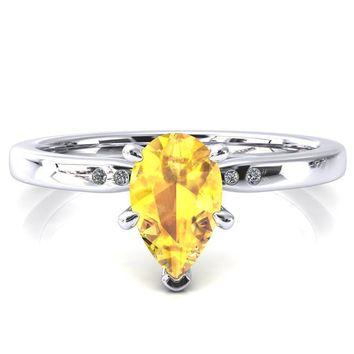 Maise Pear Yellow Sapphire 6 Prong Diamond Accent Engagement Ring