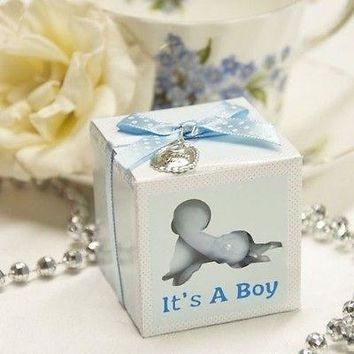 10 It's a Boy Baby Shower Blue Favor Box with Thank You Charm & Polka Dot Ribbon