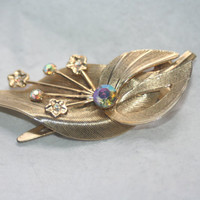 Vintage Hair Clip Rhinestone and Gold Tone With Flowers