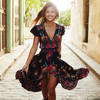 Summer Boho Dress Ethnic Sexy Print Retro Vintage Dress Tassel Beach Dress Bohemain Hippie Dress Robe Vestidos Mujer