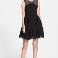 Junior Women's Way-In Embellished Yoke V-Back Fit & Flare Dress (Online Only)