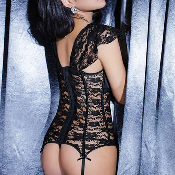 Black Short Sleeve Floral Lace Corset T-back Sleepwear Set [4965384580]
