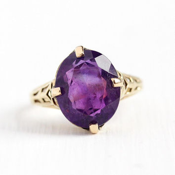 Genuine Amethyst Ring - Vintage 14k Yellow Gold Filigree Purple Gem Fine Jewelry - 1930s Size 5 1/2 Art Deco February Birthstone Jewelry