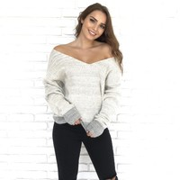 Angora Off Shoulder Grey Knit Sweater