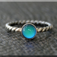 Mood Ring, Sterling Silver Stacking Ring, Twisted Mood Ring, Stackable Color Changing Ring, Mood Stacking ring, Psychedelic Mood Ring