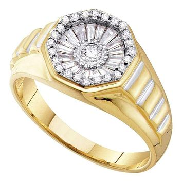 14kt Yellow Gold Men's Round Diamond Two-tone Concave Cluster Ribbed Ring 1/2 Cttw - FREE Shipping (US/CAN)