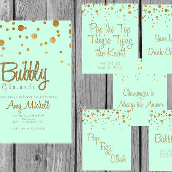 Printable Champagne bridal shower bundle/bridal brunch shower bundle/bridal shower decor/bridal shower signs/champagne shower bundle