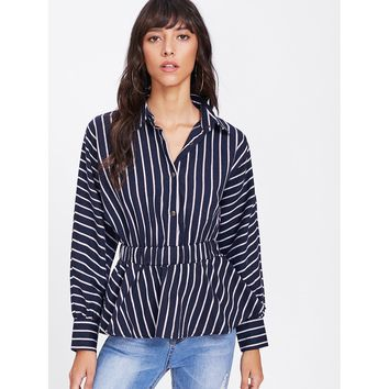 Latern Sleeve Contrast Vertical Striped Shirt MULTI