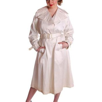 White Vintage Raincoat/ Trench Coat Secret Agent Wool Gab  W/Hat 1940S Med Large