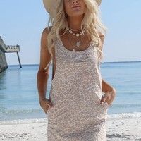 Picture Perfect Blush Leopard Overall Dress