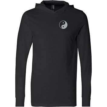 Yin Yang Pocket Print Lightweight Yoga Hoodie Tee Shirt