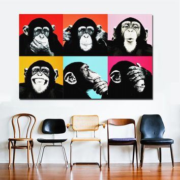 SELFLESSLY Andy Warhol Colorful Monkey Animal Poster Print Canvas Paintings For Living Room Wall Art Cuadros Pictures Unframed