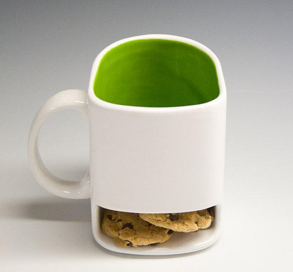 White and lime green Dunk mug