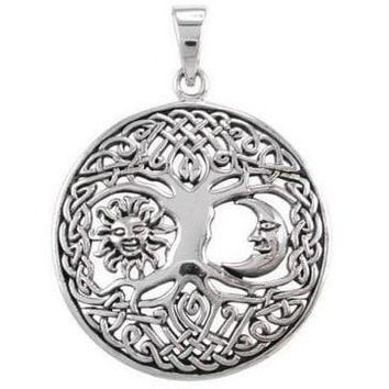 925 Sterling Silver Sun Crescent Moon Faces Celtic Tree Of Life Round Pendant