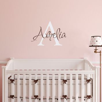 Initial & Name Wall Decal - Girls Name Decal - Initial Wall Sticker - Medium (3)