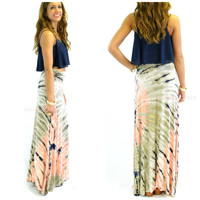 Day Tripping Gray & Pink Tie Dye Maxi Skirt