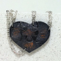 Leather Heart Puzzle necklaces set of 4 Friendship necklaces