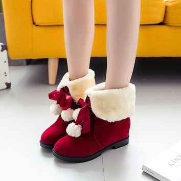 Hot Deal On Sale Shoes Winter Butterfly With Heel Height Increase Boots [47583461383]