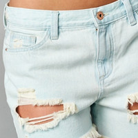 Light Distressed Boyfriend Shorts