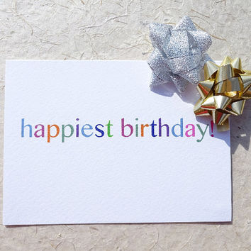 Birthday card, happiest birthday, a beautiful pastel design to say happy birthday in simple style, blank inside for your own message