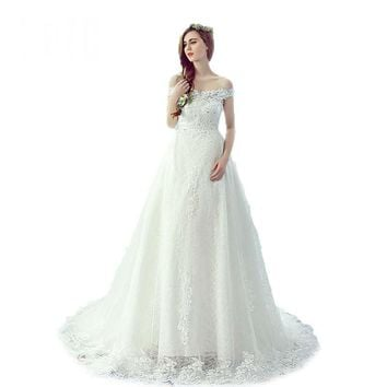 Lace Sequined Boat Neck White Train Wedding Dresses Pregnant Brides Off the Shoulder