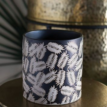 Black Cylinder Pot with Leaf Pattern