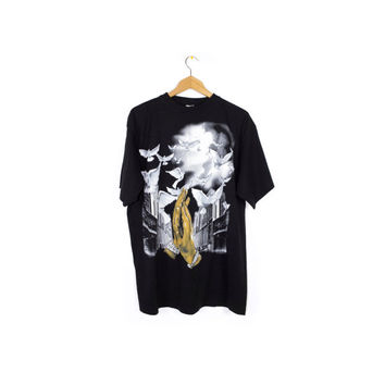 praying hands and doves tee - black & white - vintage airbrush style hip hop shirt - baggy - oversize - size l - xl
