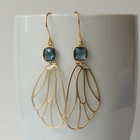 Blue Navy Jewel Gold Earrings, Butterfly Jewelry