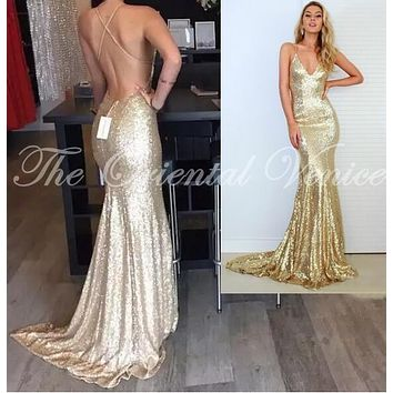 Champagne / Rose Gold Mermaid Prom Dresses 2017 Sparkling Sequined Backless Long Evening Party Gowns Pageant Dress Real Photos
