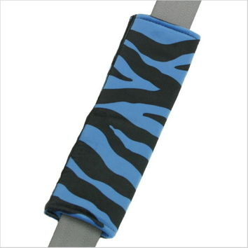Zebra Stripe Blue Black Seat Belt Pad