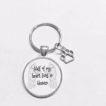 Paw Print Half Of My Heart Lives In Heaven Fur Baby Dog Cat Gift Keychain