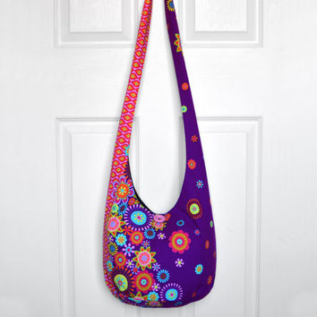 Hobo Bag Hippie Purse Crossbody Bag Sling Bag Hippie Bag Boho Bag Bohemian Purse Hobo Purse Slouchy Bag Floral Fabric Bag Gypsy Purse Hobo