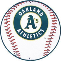 Oakland A's 12 inch Baseball Style Metal Circle Sign