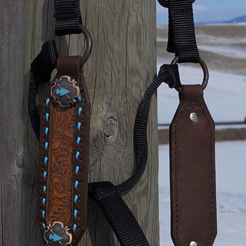 Horse Halter- Western Tooled  Cowhide Inlay - Arrowhead Conchos