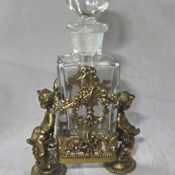 Vintage French Ormolu Brass and Glass Cherub Perfume Bottle