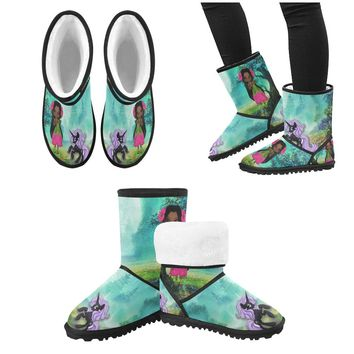 Beautiful Black Pixie Fairy with Unicorn- Snow Boots For Girls