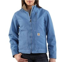 Carhartt Women's Sherpa Lined Sandstone Canyon Jacket Zip Front,French Blue (Closeout),Medium